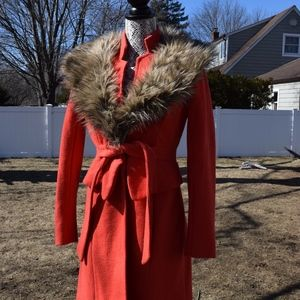 Tracy Reese Jackets & Coats - Anthropologie Tracy Reese Orange Faux Fur Coat